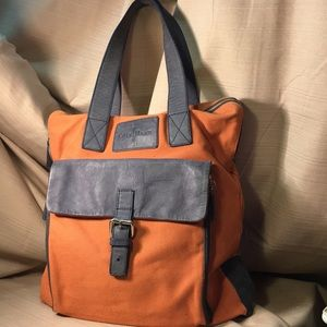Cole Haan leather and canvas tote